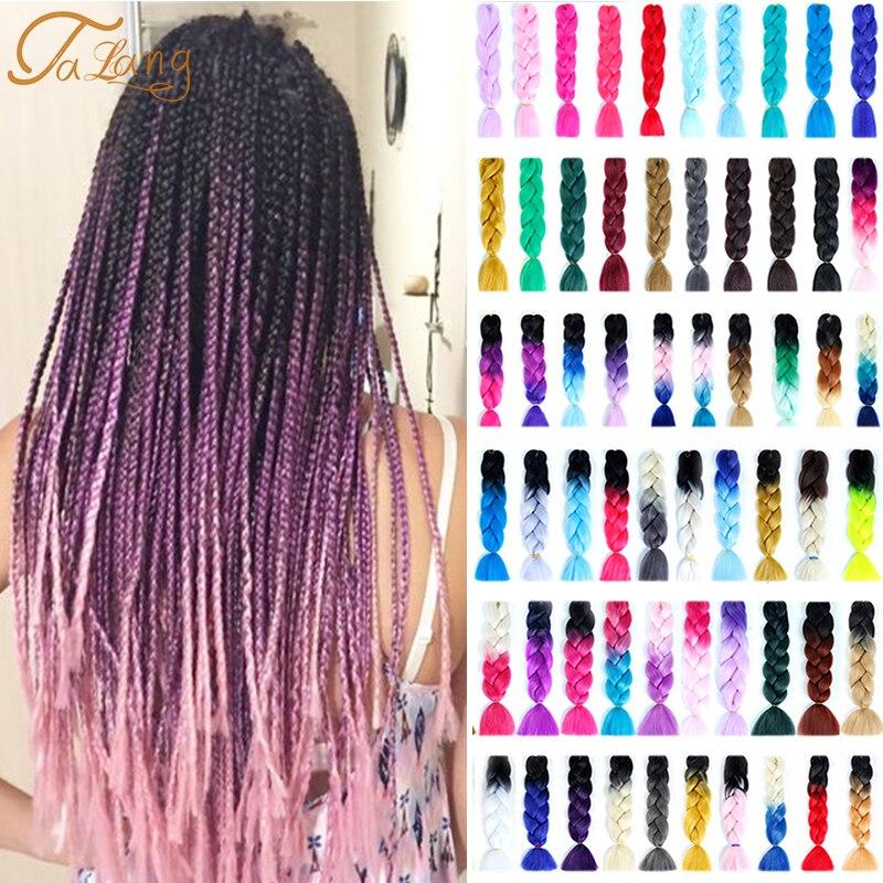 Длинные Синтетические канекалоновые косички TALANG с эффектом омбре, канекалоновые косички, розовые, синие, серые африканские волосы для нара...