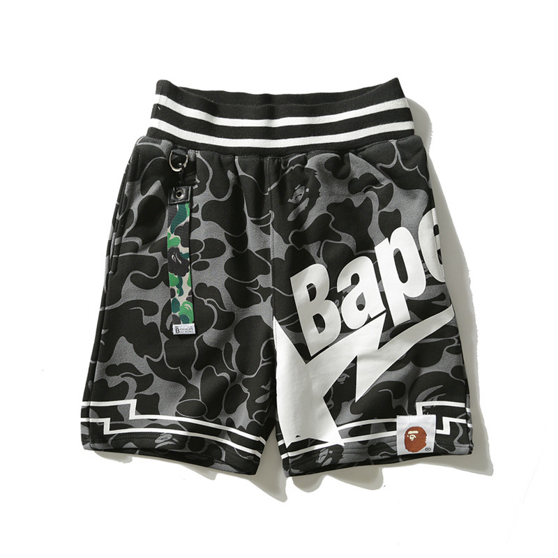 2018 Popular Brand Star Camo Black Webbing Pure Cotton Shorts Japanese-style English Lettered Straight-Cut Casual Shorts