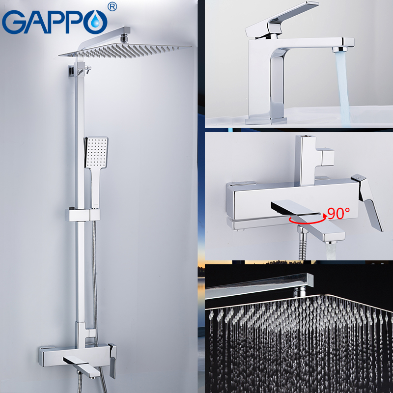 GAPPO Shower System Wall Shower Mixer Brass Shower Faucet Mixer Wall Mounted Bathroom Mixers Bathroom Shower Set