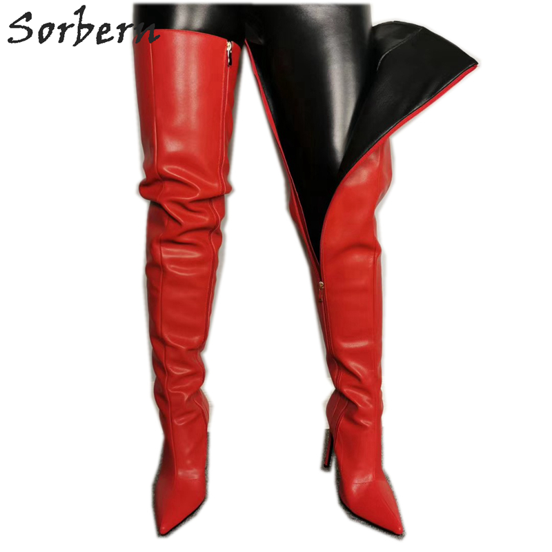 Sorbern Thigh High Women Boots Stilettos High Heel Boots Pointed Toe Fetish High Heels Custom Wide Calf Plus Size Autumn Shoe