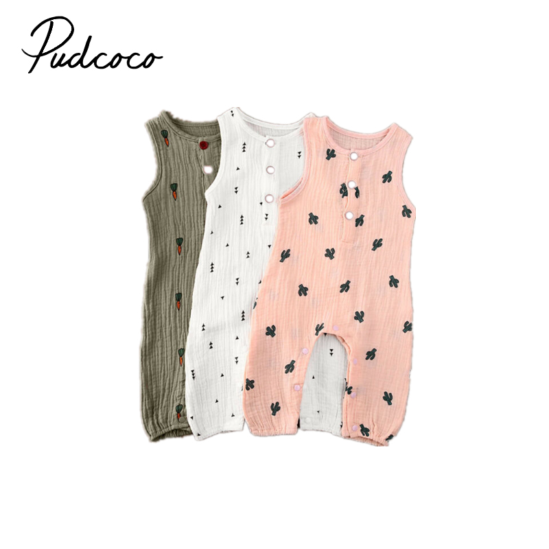 Pudcoco Cotton And Linen Romper For Infant Baby Girls Boy Sleeveless Vest Romper Summer Outfits Cute Carrot Full Print Jumper