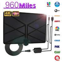 960 Milhas TV Antena Interna Amplificada Antena Digital HDTV 4K HD DVB-T Freeview TV para Os Canais de Transmissão de Televisão Em Casa Local