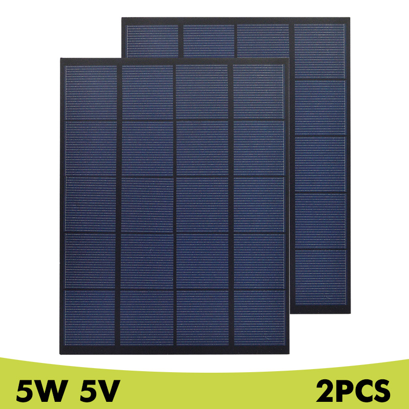 <font><b>5W</b></font> 5V 6V <font><b>12V</b></font> 18V <font><b>Solar</b></font> <font><b>Panel</b></font> Poly Mini <font><b>Solar</b></font> Cell System Mudel DIY for Charger Battery Cell Phone Chargers Home Light Toy 2Pcs image