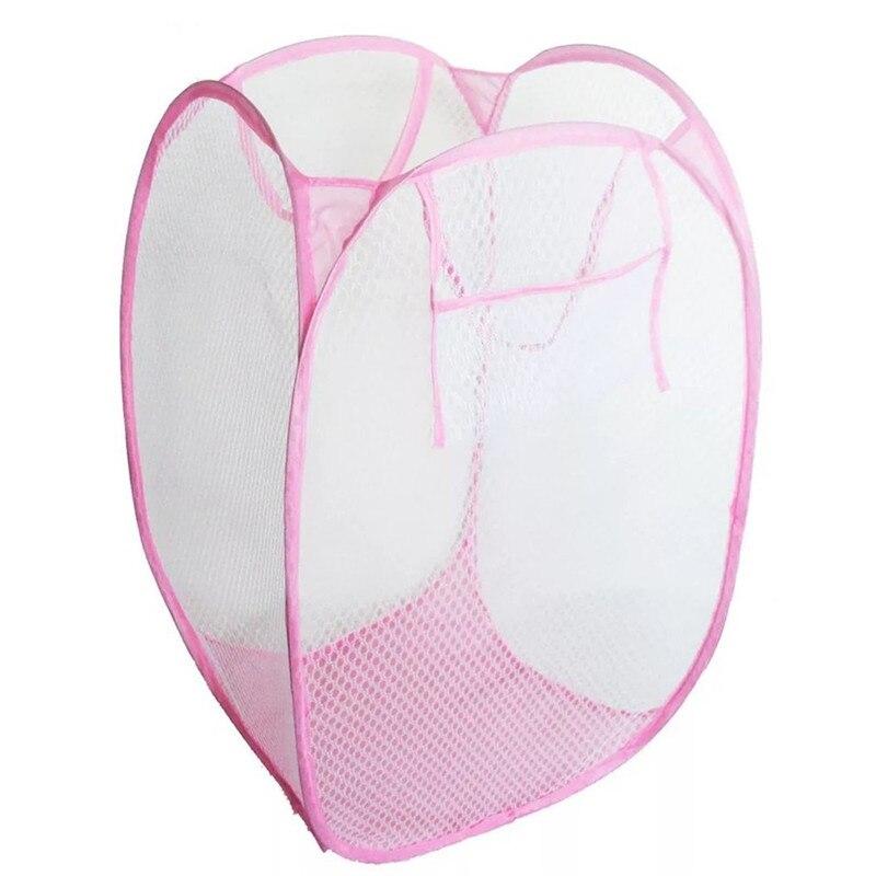 Creative Foldable Pop Up Washing Laundry Basket Bag Hamper Nylon Mesh Kids Toys Organizer Clothes Storage Basket