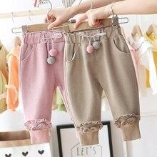 Г. Милые весенние штаны для маленьких девочек; детская одежда для малышей; повседневные штаны с оборками и помпонами; принцесса брюки S10466