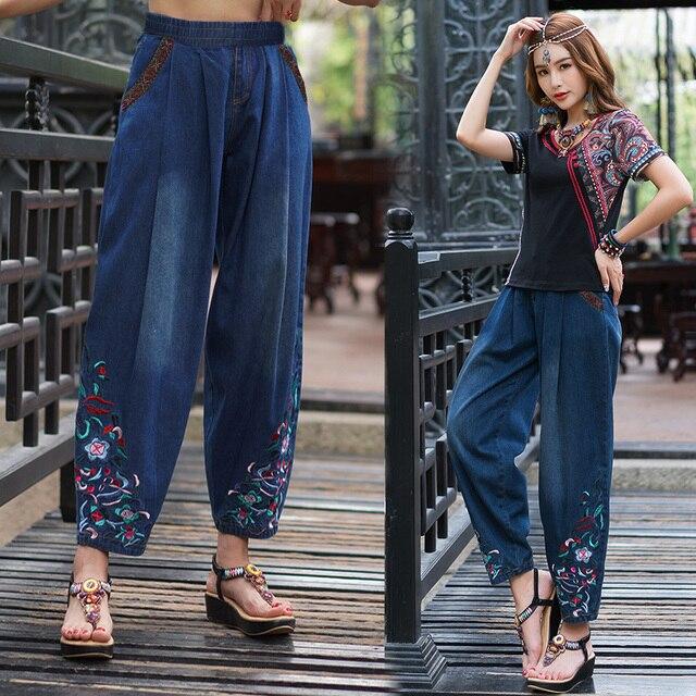 Etnico dei jeans 2020 delle donne di autunno della molla della boemia hippie originale lungo del ricamo del denim pantaloni larghi del piedino dei pantaloni della mutanda di abbigliamento Cinese