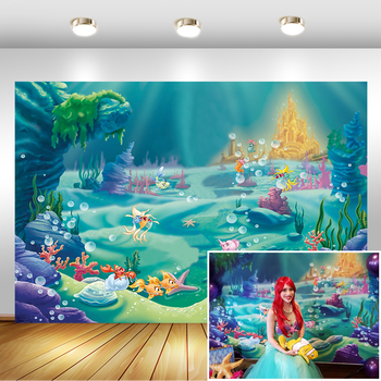 Under The Sea Little Mermaid Ocean Nautical Birthday Party Photo Studio Booth Photography Background Newborn Baby Shower Photoca