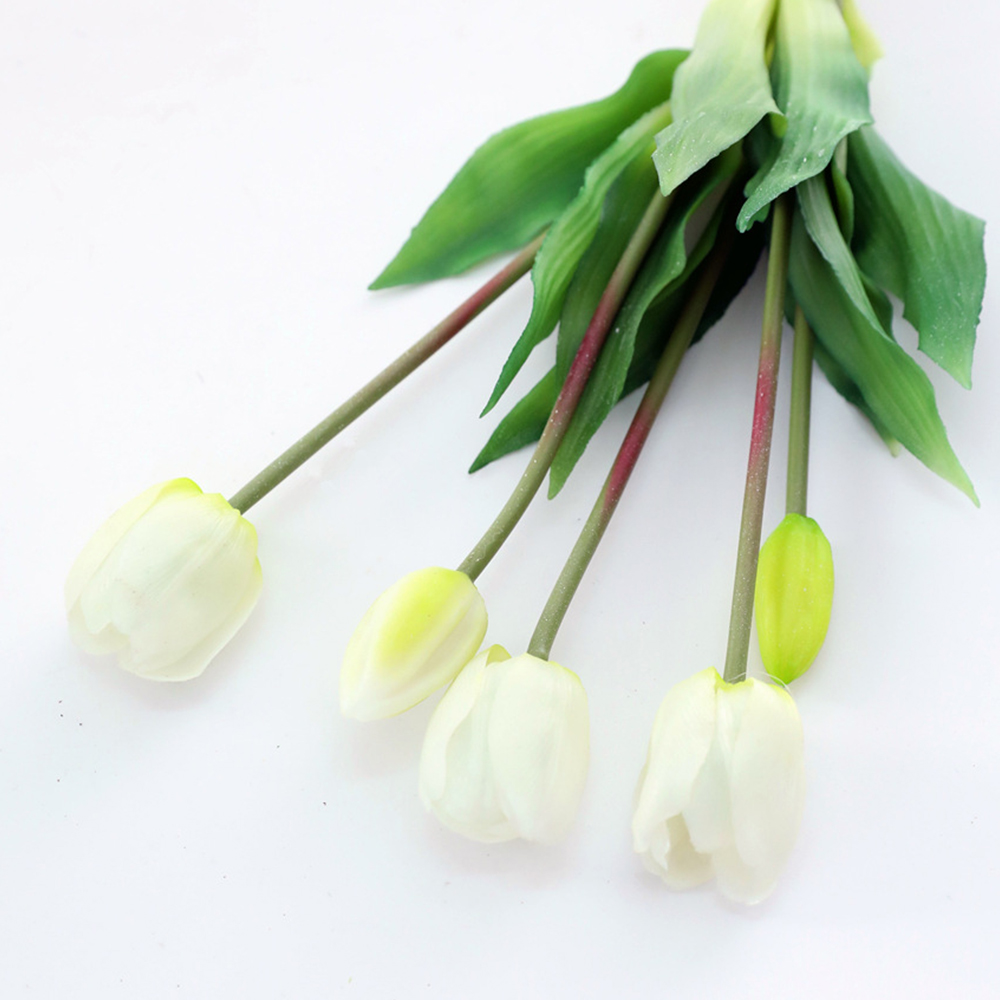 5Pcs bunch Artificial Tulips Flower For Home Wedding Decoration Bride Hand Flowers Real Touch Soft Silicone Tulip flores Decor 17