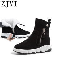 ZJVI women 2019 black suede genuine leather winter ankle snow boots wedges heels woman ladies warm fur nubuck shoes for girls