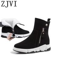 ZJVI women 2019 black suede genuine leather winter ankle snow boots wedges heels woman ladies warm fur nubuck shoes for girls цена 2017