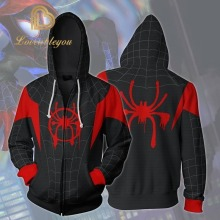 Cosplay Spiderman Into The Spider Verse Miles Morales Hoodie Coat Sweatshirts Costumes Men Zipper Hooded Jacket