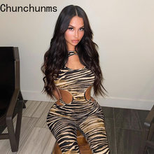 Leopard Printed Jumpsuit For Women Bandage High Waist Cut Out Rompers Summer Fashion Outwear Srtench Fitness Workout 2021