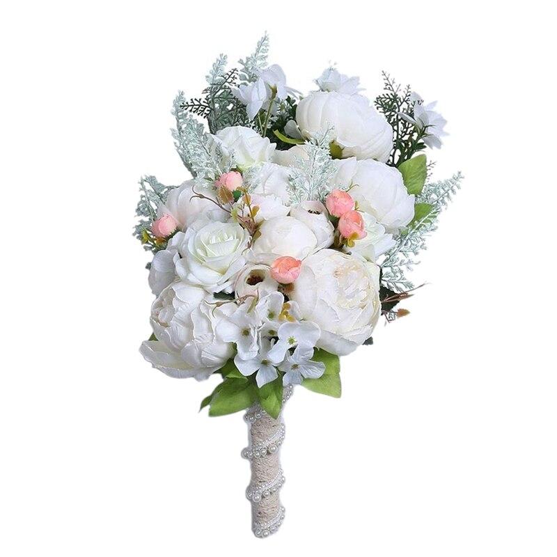 Braut Hochzeit Bouquet Romantische Handgemachte Künstliche Pfingstrose Rose Perle Geeignet für Hochzeit Home Decor