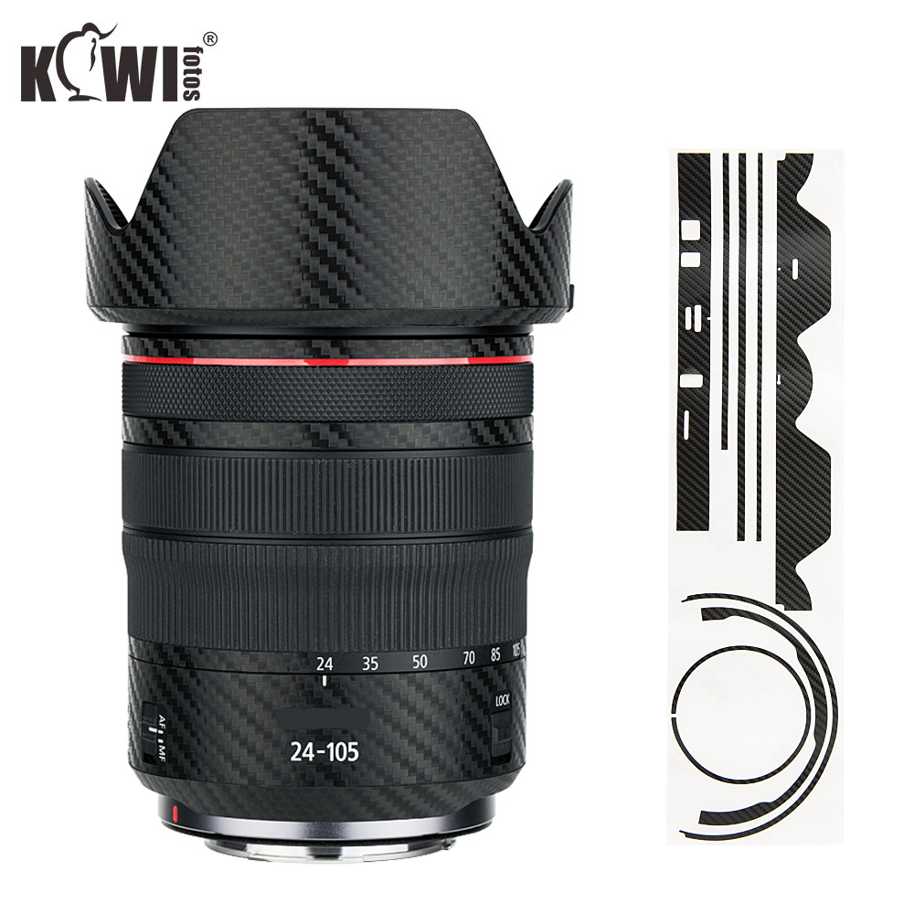 Anti-Slide Lens And Lens Hood Cover Carbon Fiber Skin Film For Canon RF 24-105mm F4L IS USM Lens & EW-83N Lens Hood 3M Sticker