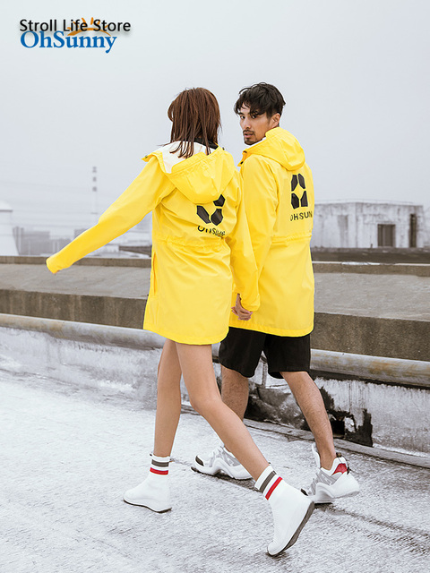 Sunscreen Windbreaker Raincoat Women Men Outdoor Waterproof Travel Long Rain Poncho Jacket Yellow Rain Partner Impermeable Gift 1