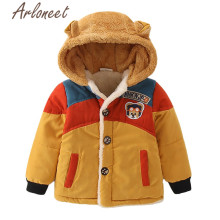 ARLONEET/пальто с героями мультфильмов; пальто с капюшоном для маленьких девочек; зимнее плотное пальто для мальчиков; куртка на пуговицах; Верхняя одежда с принтом медведя; детская парка