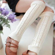 2019 Fashion Trend Women Ladies Leg Warmer Autumn Winter Knee High Knit Crochet Boot Protector Slouch Solid Simple Casual Warm(China)