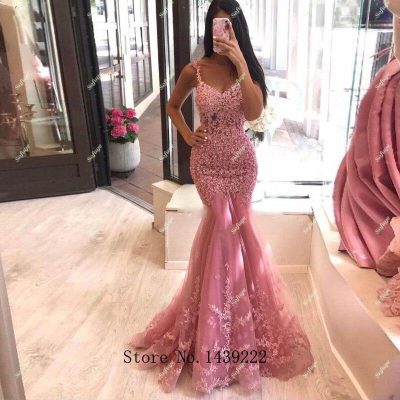 Женское вечернее платье-русалка, розовое фатиновое платье для выпускного вечера, с аппликацией в арабском стиле