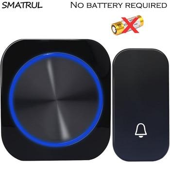 SMATRUL Self Powered Waterproof Wireless DoorBell Door Bell Night Light No Battery EU Plug Smart Home 1 2 Button 1 2 Receiver