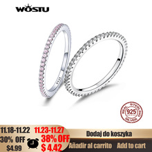 WOSTU מכירה לוהטת 100% 925 סטרלינג כסף גיאומטרי עגול ברור CZ מעגל אצבע טבעת עבור נשים אירוסין תכשיטי מתנה FIR066