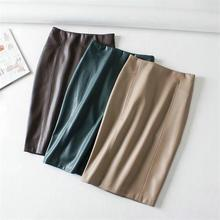 Women Sexy Pu Leather Pencil Skirts Solid Autumn Ladies Package Hip Back Split Faux