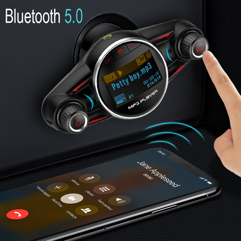 JINSERTA 2020 FM Transmitter Wireless Bluetooth 5 0 Car MP3 Player AUX Audio Receiver TF USB music players USB Charger