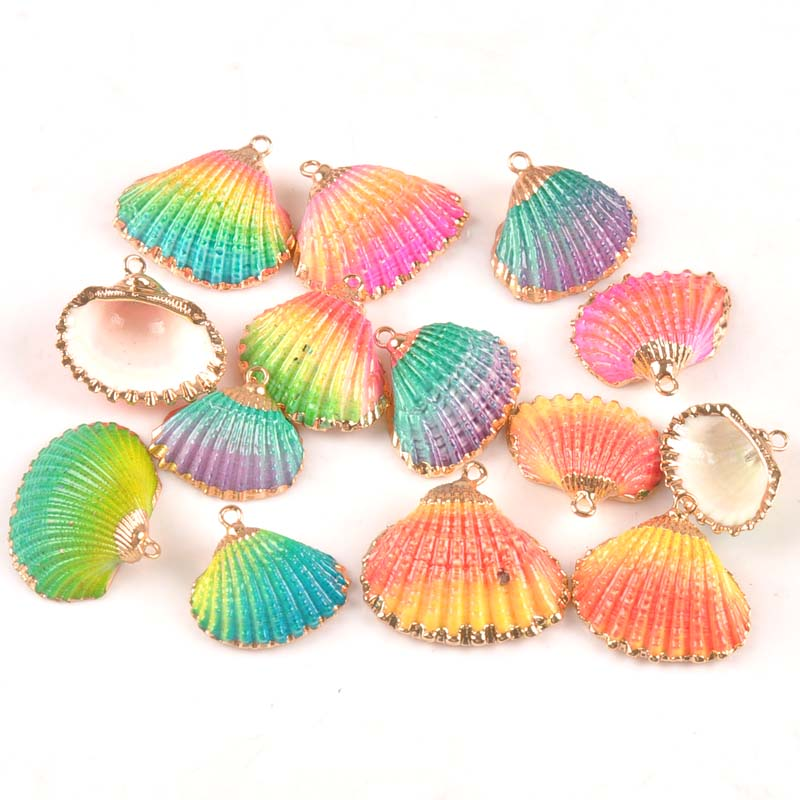Rainbow Color Sector Shell Gold Plated For DIY Handmade Pendant SeaShells Home Decoration 5pcs TRS0335
