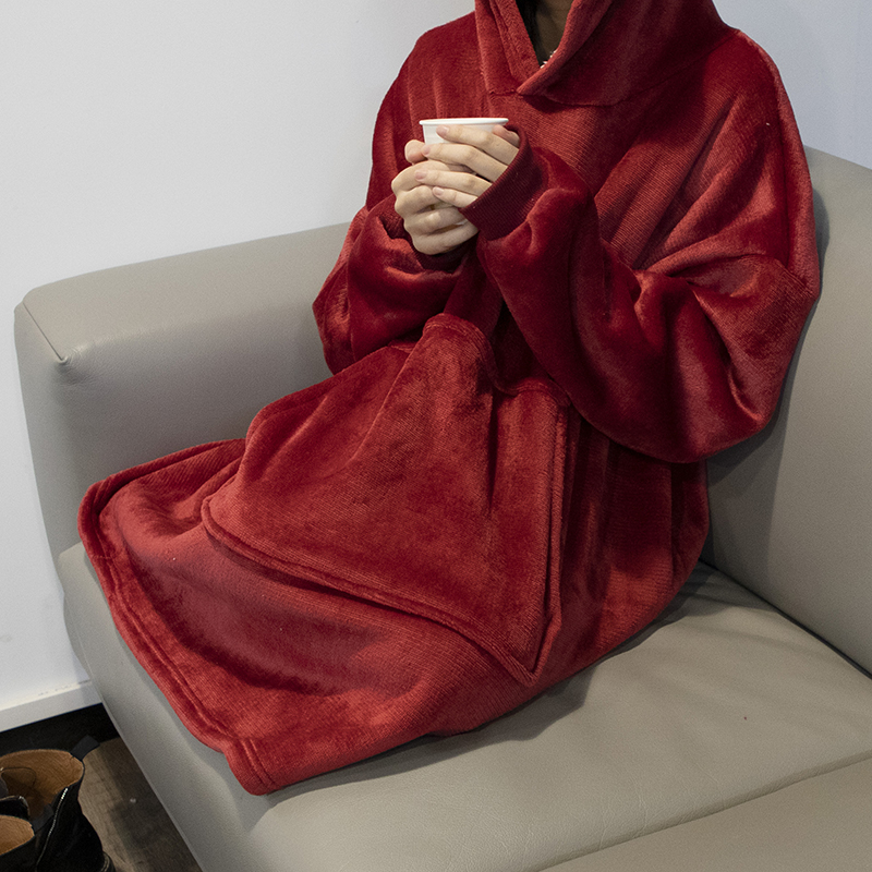 Winter Warm TV Sofa Blanket with Sleeves Fleece Pocket Hooded Weighted Blanket Adults Kids Oversized Sweatshirt Blanket for Bed-2