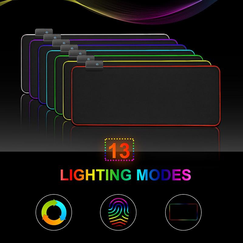 Игровой коврик для мыши с RGB-подсветкой, большой компьютерный коврик для мыши размера XXL, настольный коврик-3