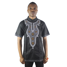 Africa Black Abstract Embroidery Men`s Ethnic Tops Mandarin Collar Dashiki Shirts For Wedding