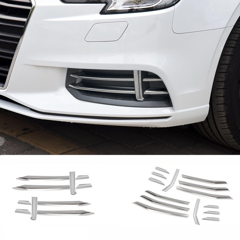 CNORICARC Stainless Steel Car Front Fog Lamp Trim Strips For Audi A3 2017-18 Hatchback Sedan Sport Styling Cover Sequin