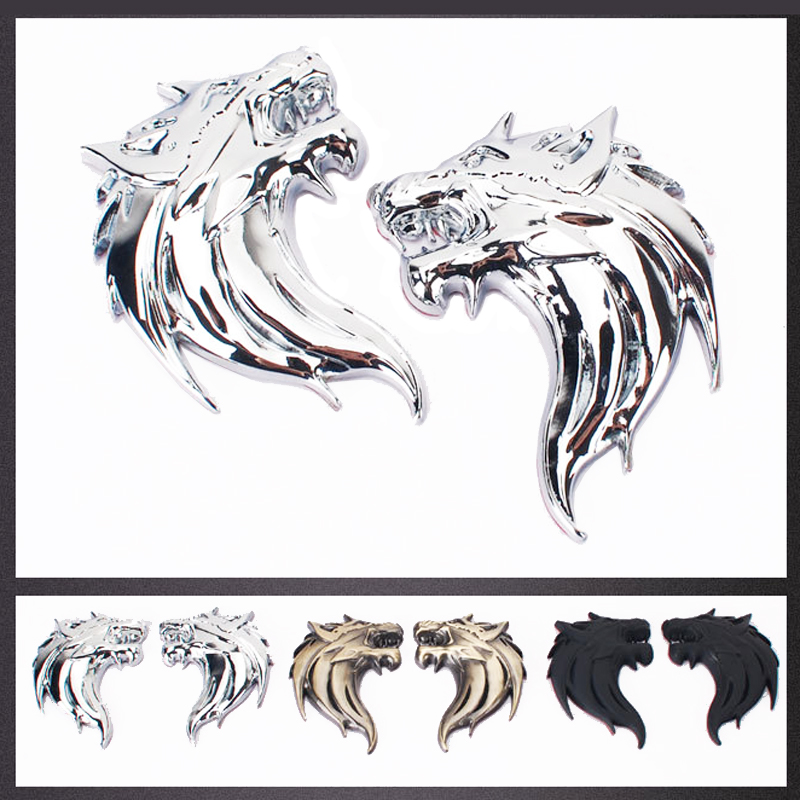 3D Car Sticker Metal Wolf Head Badge Logo Auto Truck Motorcycle Decals Emblem Decoration Stickers Car Accessories styling