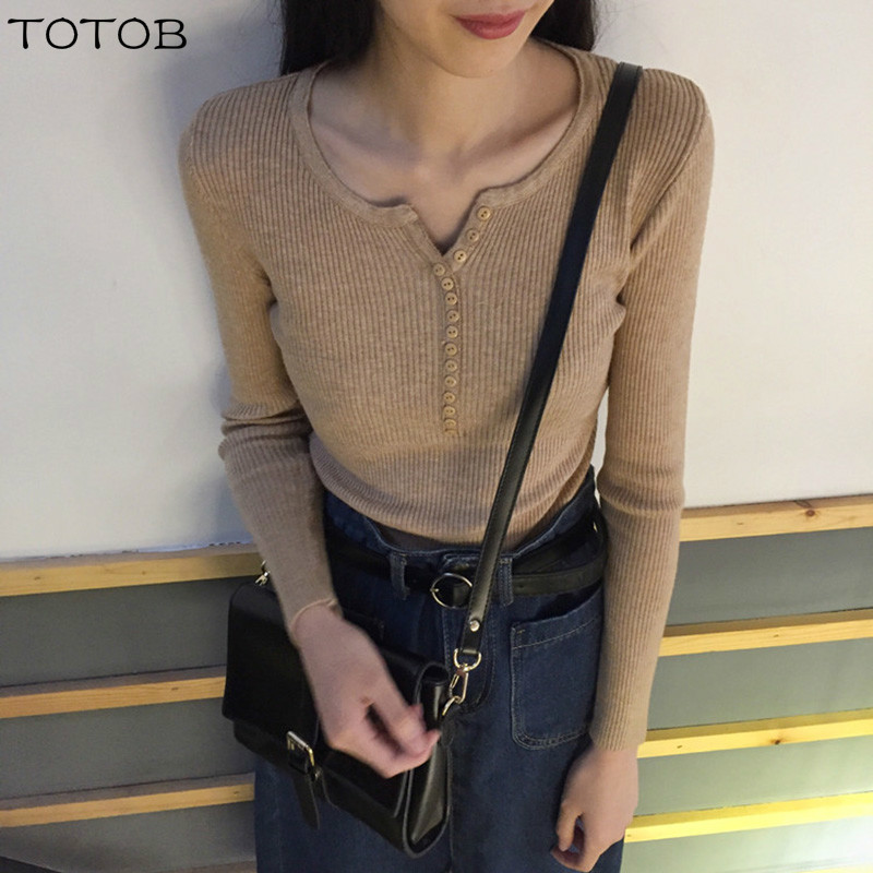 New 2019 Spring Button V Neck Sweater Women Basic Slim Knitted Pullover Women Sweaters And Pullovers Knit Jumper Ladies Sweater