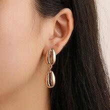 Vintage Metal Shell Drop Earrings 2019 New Gold Silver Dangle Earring Ladies Statement Fashion Bohemian Beach Jewelry