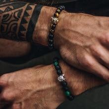 New Black Lava Stone Design 8MM  Men Bracelet wolf Pave Cubic Zirconia Matte Charm For Jewelry Beaded Bracelets
