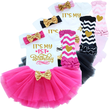 Зимнее платье для маленьких девочек 1 года, вечерние платья на первый день рождения для новорожденных, платье на крестины с надписью «My First ...