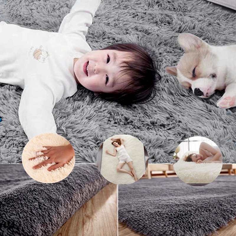 Anti-Skid Area Rug Polyester Fiber Bedroom 60x40cm Shaggy Hotel Floor Carpet Warm Fluffy Rugs Living Room Mat Home Decoration