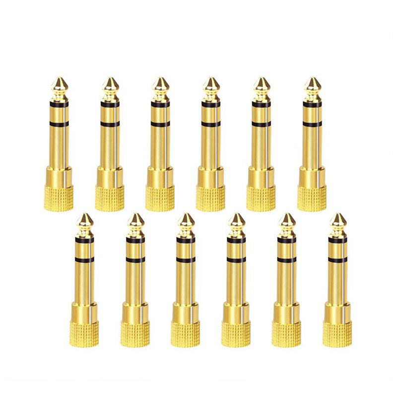 Hot 3C-12-PACK 6.35mm (1/4 Inch) Male To 3.5mm(1/8 Inch) Female Stereo Jack Adapter,Gold Plated 3-Conductor TRS AUX Plug