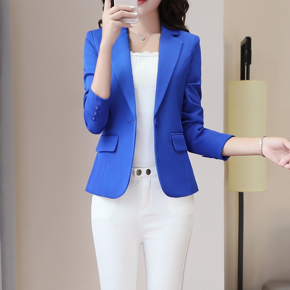 Elegant Formal Plus Size 4XL Women Coats Blazer Jacket Spring Summer Long Sleeve Girl Green Pink Dark Blue Jackets Office Blazer
