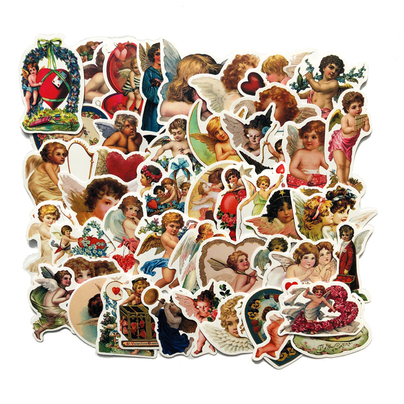 50Pcs Retro Cupid Little Angel Stickers For Laptop Car Scrapbooking Phone Luggage Motorcycle Decal Toys For Children PVC Gift