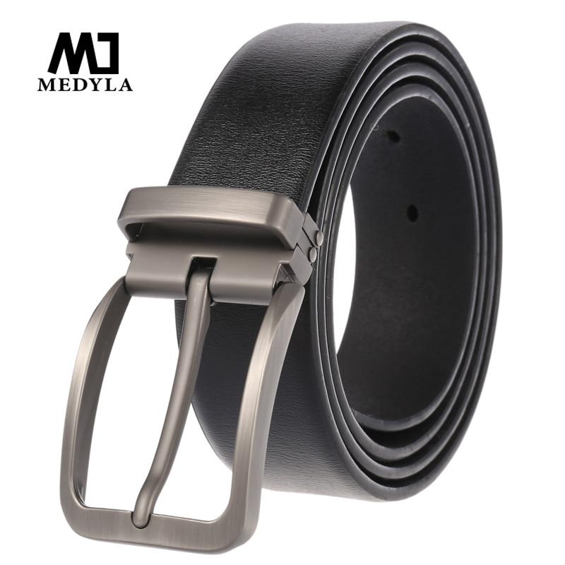 Medyla 2020 New Men's Belt Dress Belt Simple Fashion Men's Belt Cowhide Jeans Belt Pin Buckle Punch Youth Belt
