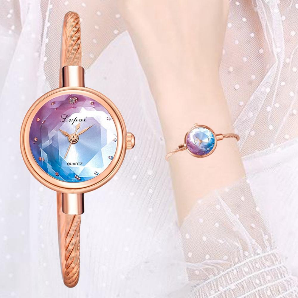 Lvpai Brand Women Watch Bracelet Gold Casual Small Watch Golden Geometric Glass Surface Colorful Wristwatch Ladies Quartz Clock