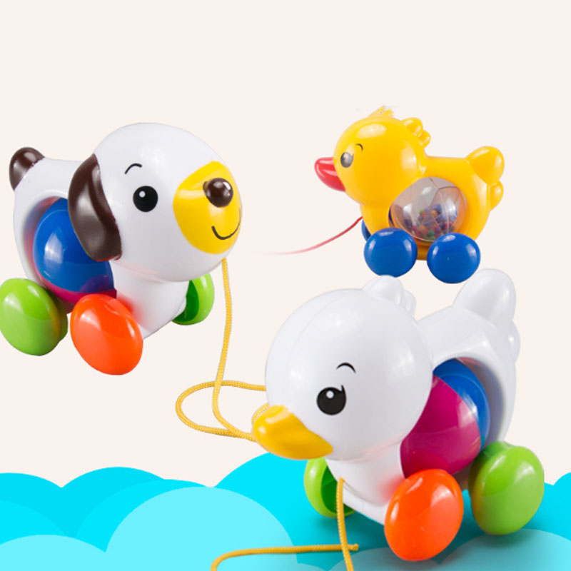 Cute Pull Toy Outdoor Toys Little Duck Puppy Infant Toddler Rope Baby Toys Rattles Stroller Toy JK993440