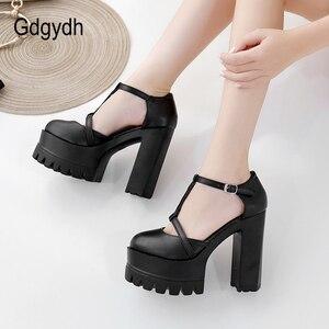 Image 4 - Gdgydh אביב סתיו קרסול רצועת אבזם נשים משאבות שחור עבה עקבים גבוהים נעלי נקבה אחת נעלי רדוד החוצה רך עור