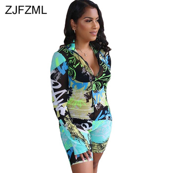 Graffiti Letter Print Sexy Skinny Playsuits Women Deep V Neck Full Sleeve Club Party Overall Streetwear Front Zipper Body Suits sexy satin v neck cross front straps playsuits in pink