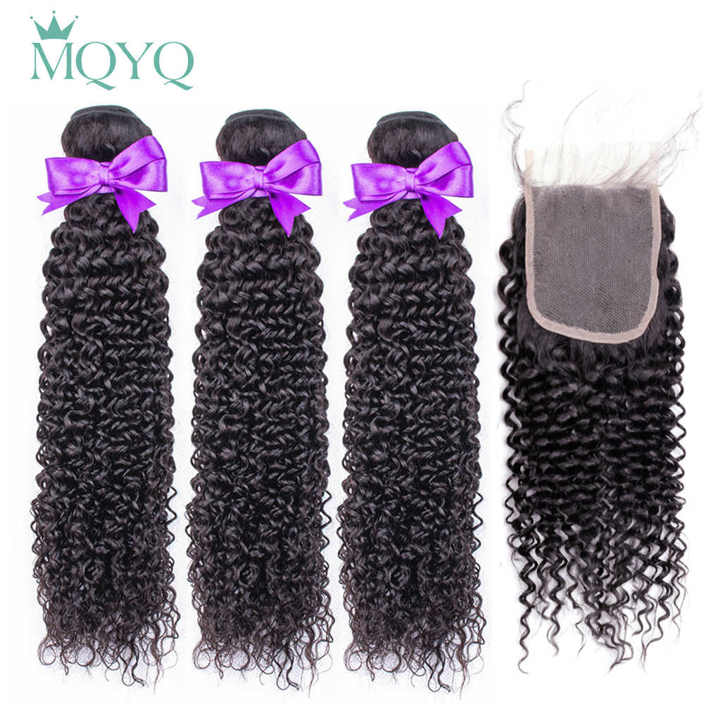 MQYQ Kinky curly Bundles With Closure 3 PCS Brazilian Human Hair non remy Weave Deep Curly Bundles With Closure 4*4 Free Part