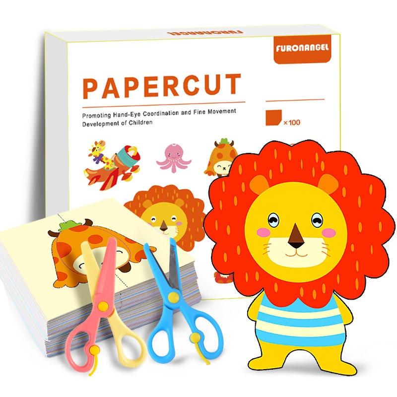 100Pcs/set Cartoon Colorful Paper Folding and Cutting Toys Children Animal Book Art Craft Handmade DIY Education Kids Toy Gift