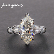 PANSYSEN Luxury Moissanite Engagement Rings for Women New Design Mariquesa Cutting 925 Sterling Silver Jewelry Ring Fine Jewelry