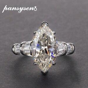 Image 1 - PANSYSEN Luxus Moissanite Verlobung Ringe für Frauen Neue Design Mariquesa Schneiden 925 Sterling Silber Schmuck Ring Edlen Schmuck