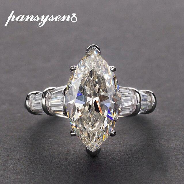 PANSYSEN Luxus Moissanite Verlobung Ringe für Frauen Neue Design Mariquesa Schneiden 925 Sterling Silber Schmuck Ring Edlen Schmuck